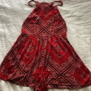 XHILARATION Women's Red Bandana Print Romper